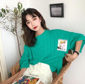 实拍?#23548;踾 7833# 韩风宽松圆领单排扣烫画五分袖彩色薄款T恤 4色