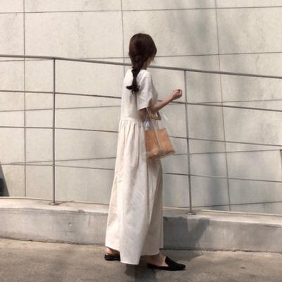Hara Kumiko Nghệ thuật Nhật Bản tối giản Cô gái Chiên gà Cái nhìn tốt bụng Kem xếp li váy đầm