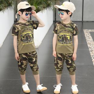男童迷彩套装夏装中大童两件套