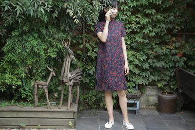 Lời cảm ơn của Green. 』Suishanji thiết kế ban đầu phong cách Trung Quốc cheongsam phần mỏng đầm lụa váy đầm