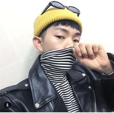 Ulzzang retro Hàn Quốc phiên bản của triều thương hiệu chàng trai sọc đen và trắng cao cổ áo t-shirt đẹp trai bên trong sinh viên đáy áo dài tay áo áo thun có cổ Áo phông dài