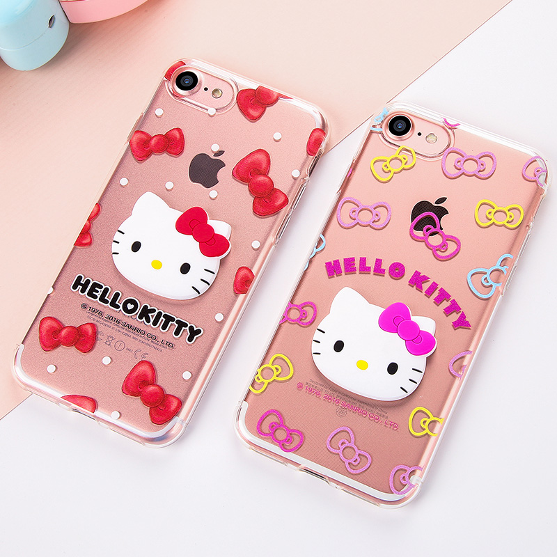 GARMMA Hello Kitty 3D Cathead Transparent TPU Soft Back Cover Case for Apple iPhone 7 Plus & iPhone 7