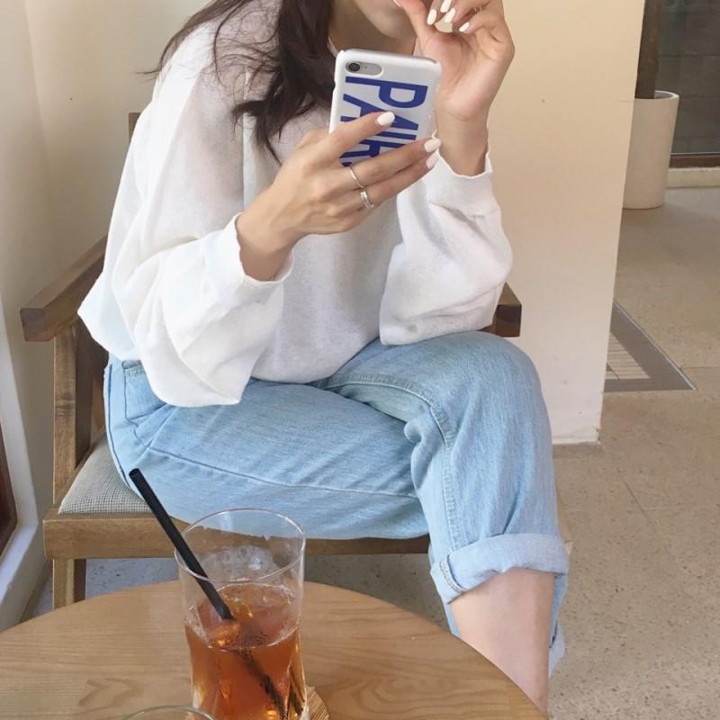 [Muzly] Hàn Quốc ins gió siêu trắng đầu mùa thu hoang dã lỏng áo len mỏng áo sơ mi dài tay T-Shirt nữ