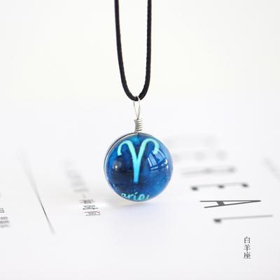 蓝色星空十二星座项链吊坠玻璃夜光日韩时尚情侣礼物挂件首饰160