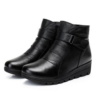 女鞋妈妈鞋棉鞋中老年真皮短靴雪地靴