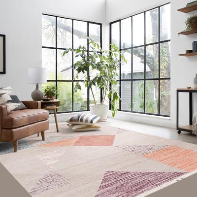 印度进口北欧手工编织羊毛客厅简约现代几何图案茶几地毯沙发地毯
