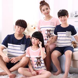 Pyjama trẻ em, đàn ông và phụ nữ, trẻ em lớn, bông, mẹ và con gái ngắn tay, cha mẹ và con, mùa thu và mùa hè, một gia đình của ba bộ đồ phục vụ tại nhà