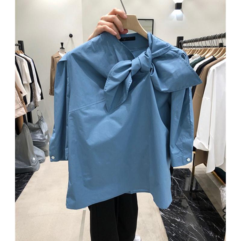 韩国东大门2020春夏新款甜美时尚蝴蝶结衬衫女纯色宽松休闲衬衣