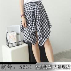 年韩版不规则假两件格子半身裙高腰显瘦学生短裙新女潮