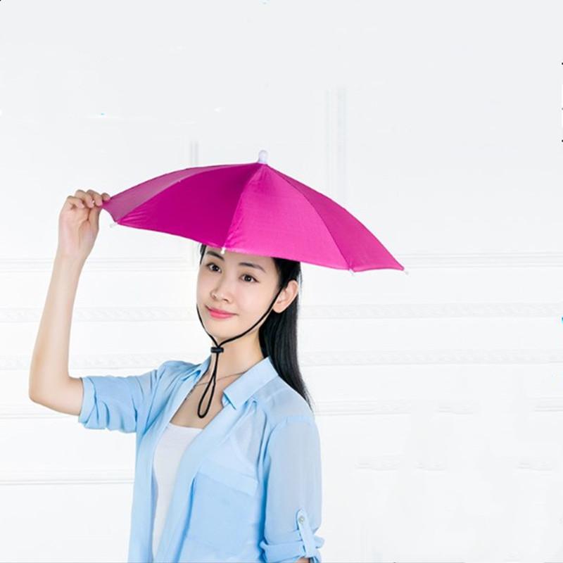 伞帽头戴雨伞帽子钓鱼头戴太阳伞户外采茶环卫防晒斗笠伞折叠大号