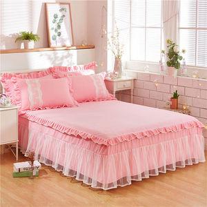 Bông ren bên giường váy mảnh duy nhất giường bìa trượt 1.8 m giường lá sen tấm ga trải giường váy ba mảnh cotton