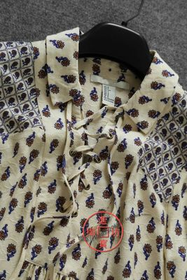 XT080D 0110复古优雅 绑带设计小翻领宽松型中长款印花衬衫(新)