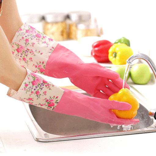 保暖加绒家务手套 加厚乳胶花袖长袖洗碗洗衣护手防水清洁手套