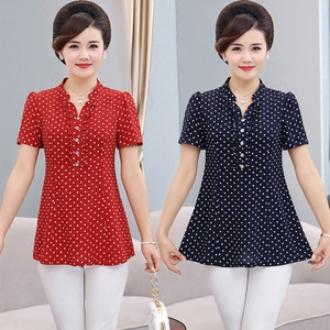 Mẹ ngắn tay t-shirt nữ mùa hè 40-50 tuổi 2018 mới trung niên mùa hè lỏng trung niên của phụ nữ mùa hè ăn mặc