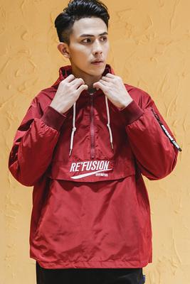 Guochao thêu thư Áo Khoác bboy đường phố Mỹ hip hop loose coat sinh viên thường đội mũ trùm đầu áo gió nam