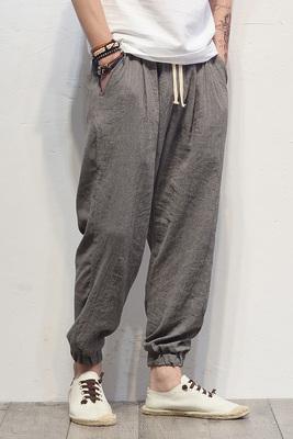 Linen quần âu phong cách Trung Quốc thể thao lỏng lẻo quần chùm chân quần cotton kích thước lớn nam chín điểm harem quần đèn lồng quần