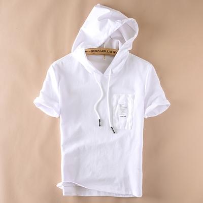 Nhật bản đội mũ trùm đầu căng ngắn tay áo len nam giới màu trắng giản dị thanh niên xu hướng phần mỏng lỏng trùm đầu áo khoác