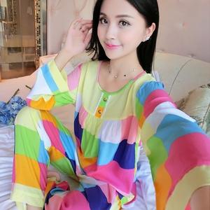 Bông lụa đồ ngủ mùa hè Hàn Quốc phiên bản của bộ đồ ngủ lụa dài tay quần mỏng phần nhân tạo cotton dịch vụ nhà phù hợp với tháng phù hợp với