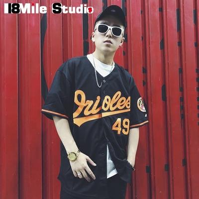 Châu âu và Mỹ đường phố hiphop hip-hop hip-hop quá khổ kích thước lớn cardigan mùa hè thoáng khí đồng phục bóng chày ngắn tay T nam giới và phụ nữ Đồng phục bóng chày