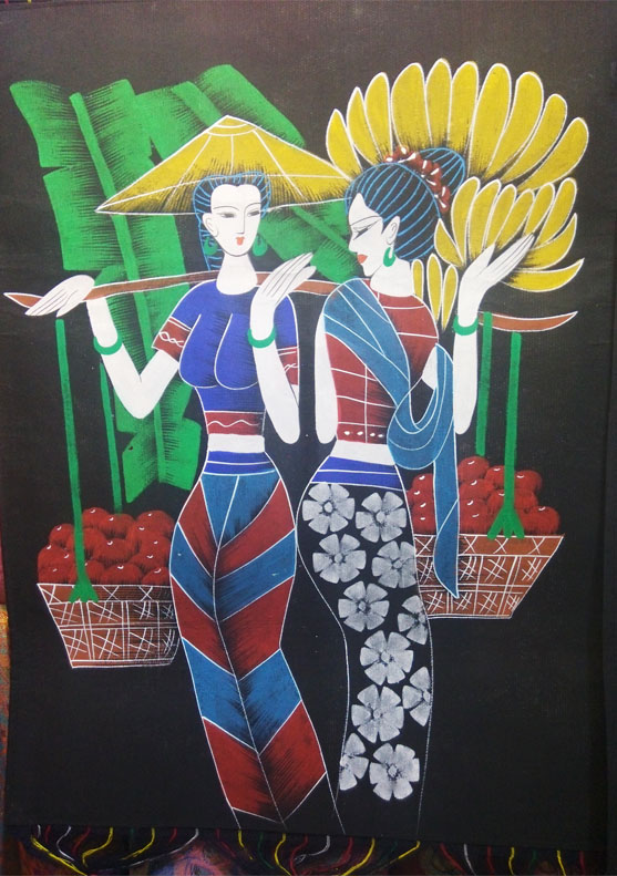 Ethnic style bar decoration figure batik heavy-color murals hand-painted cloth art murals hanging background paintings