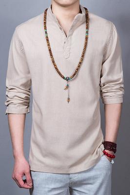 Mùa thu phong cách Trung Quốc linen dày linen áo sơ mi nam cổ áo loose nam cotton linen dài tay t-shirt kích thước lớn nam quần áo áo thun ba lỗ Áo phông dài