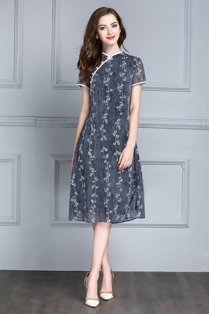 Mực Qinghua mùa hè mới retro sửa đổi sườn xám váy ngắn- tay mỏng một từ váy in đầm