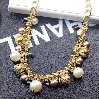 韩国彩色宝石珍珠水晶项链夸张锁骨链韩国饰品项链女配饰项链