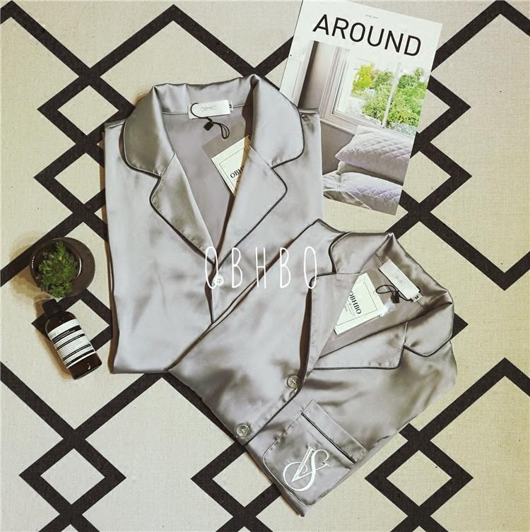 Cao cấp tùy chỉnh lụa nam giới và phụ nữ vài mô hình ngắn tay quần short dịch vụ nhà phù hợp với lụa kết cấu mùa hè màu rắn đồ ngủ