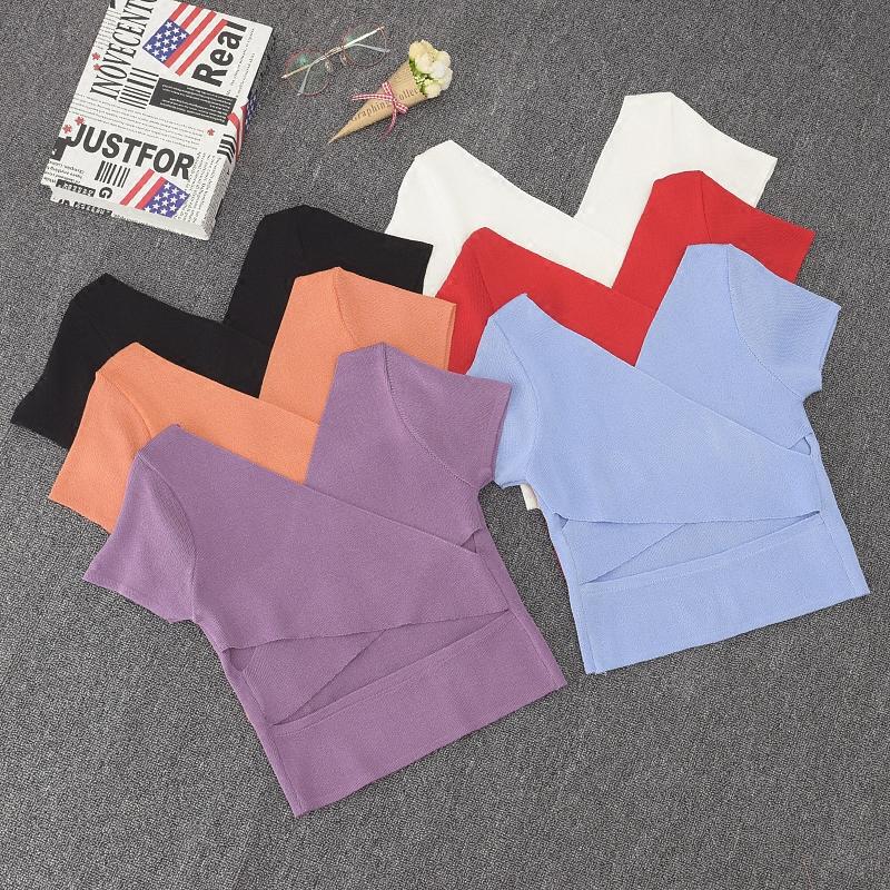 Dệt kim của phụ nữ đầu năm 2018 mới của Hàn Quốc phiên bản của máy cẩn thận ngắn tay V-Cổ mỏng giảm béo hoang dã áo khoác ngắn triều