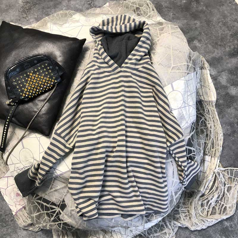 Hip covered high collar hooded heavy sweater womens Hoodie 2020 new Korean autumn and winter no Plush fake two-piece striped coat