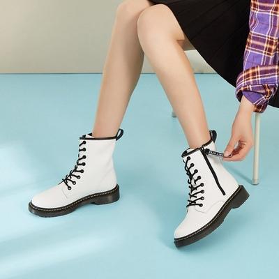 卓诗尼冬新款单靴女圆头粗跟牛筋底骑士马丁靴女