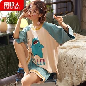 南极人短袖睡衣女夏季纯棉韩版学生薄款套头可爱印花家居服两件套