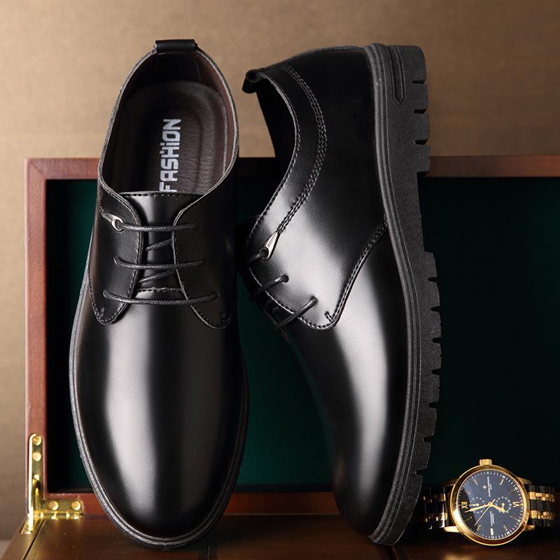 新款皮鞋男士商务休闲正装男鞋圆头低帮系带爸爸鞋男士皮鞋耐磨