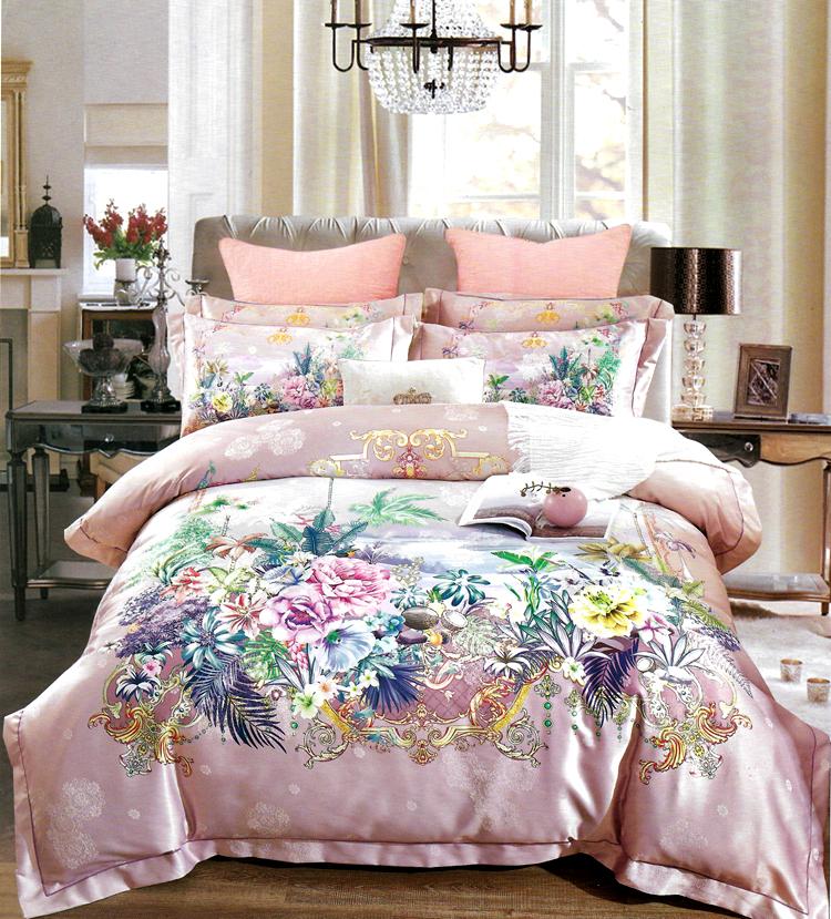 简森张家纺纯棉贡缎电脑提花花语粉四件套大床 1.8米 2.0 床品