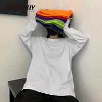 INS чистый хлопок 20 корейский ins винтаж фонд стиль Сплошной цвет осень Рубашка внутри езды мужские и женские длинный рукав Футболка BF Wind