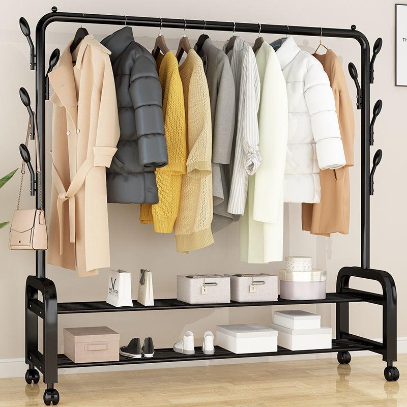 单杆式晾衣架落地简易晾衣杆家用卧室晒衣架折叠室内挂衣服架子24.52
