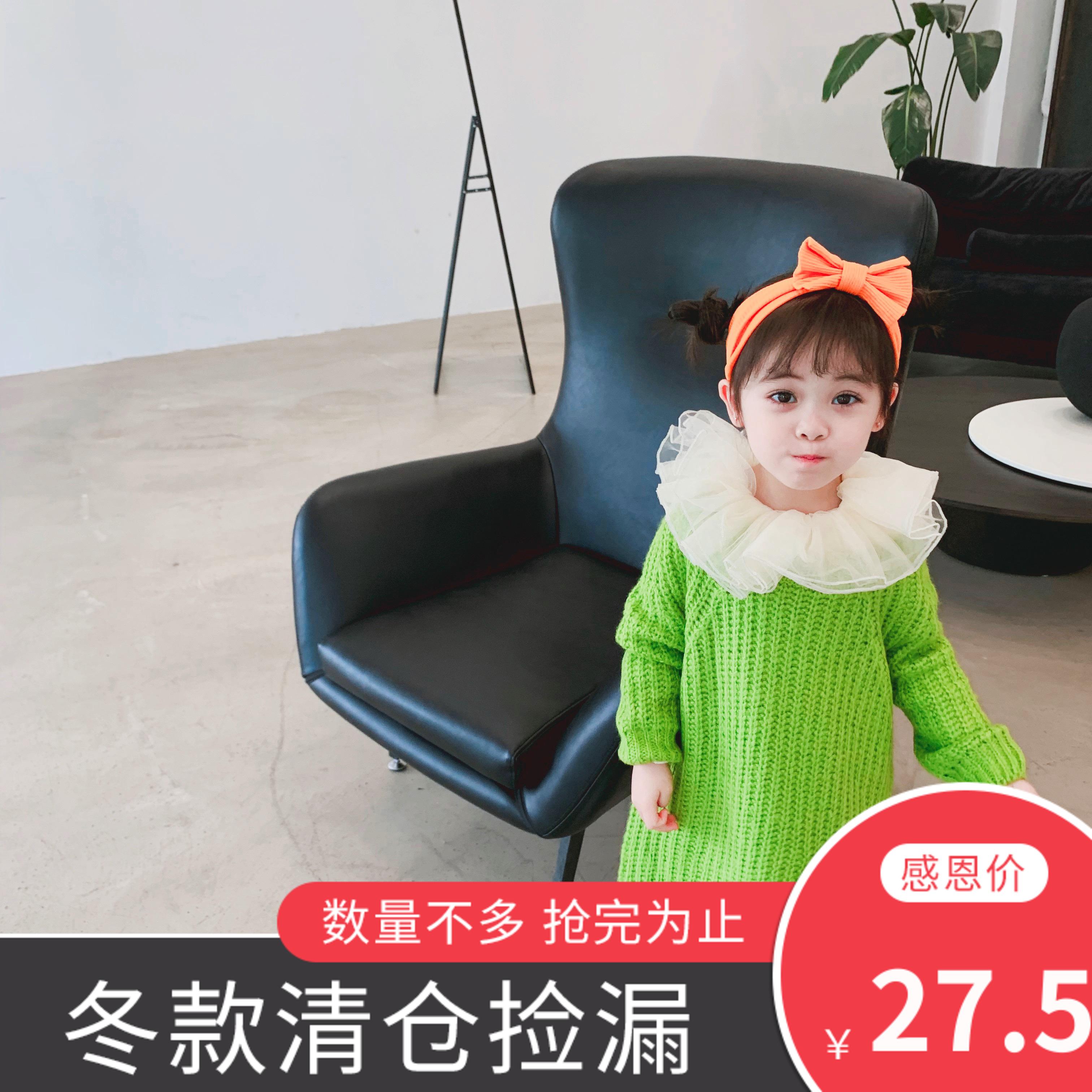 Váy bé gái mùa thu phong cách nước ngoài 2019 váy trẻ em mới mùa thu và áo len mùa đông đan áo len bé gái váy len - Váy