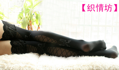taobao agent 【Zhiqingfang】Black lace, shiny bow, hollow, sexy stockings, COS, clothing accessories, socks