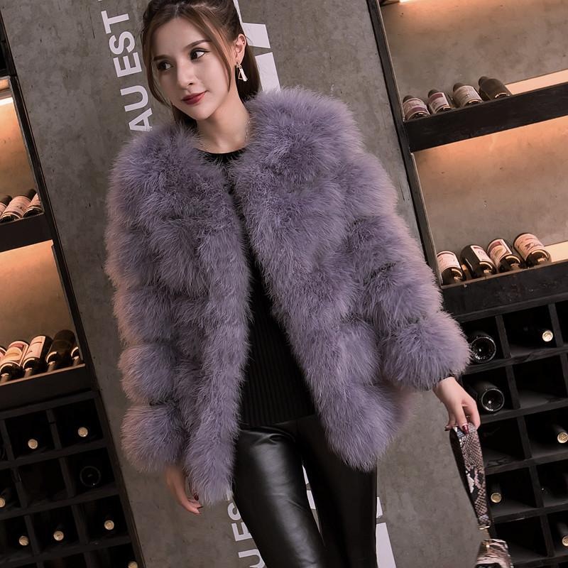 2018 mới đích thực đà điểu tóc dài áo khoác lông nữ cổ tròn dày mỏng giảm béo thổ nhĩ kỳ tóc dài tay áo