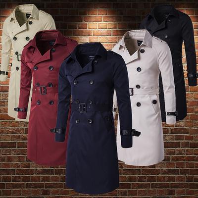 Hàn quốc phiên bản của kinh doanh bình thường làm việc nhiều nút nút epaulettes ve áo lớn vành đai cổ áo dài áo gió áo khoác áo giản dị nam Áo gió