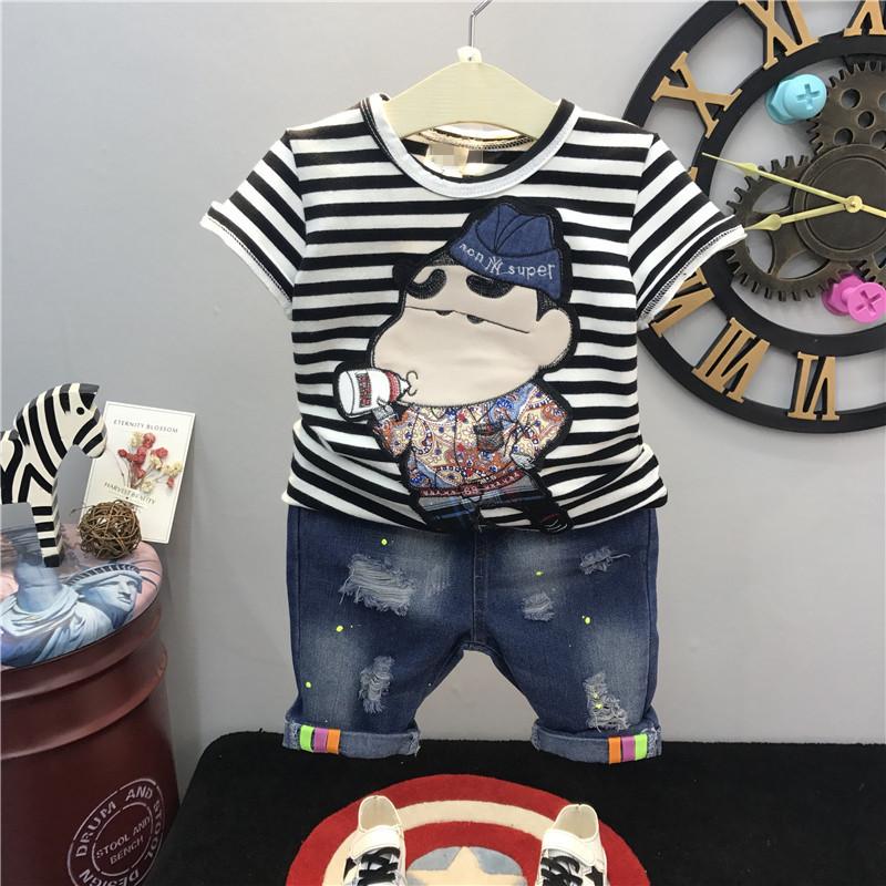 Chàng trai mùa hè phù hợp với 2018 mới trẻ em Hàn Quốc sọc cotton ngắn tay T-Shirt + quần short denim hai mảnh phù hợp với