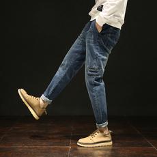S实拍2018日系长裤小脚裤牛仔裤男韩版潮修身哈伦裤男士长裤5217