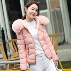实拍2017冬季新款棉衣女韩版修身保暖连帽大毛领短款羽绒服1705
