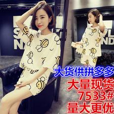 7533#夏纯棉短袖套装夏季韩版甜美可爱学生两件套夏天宽松家居服