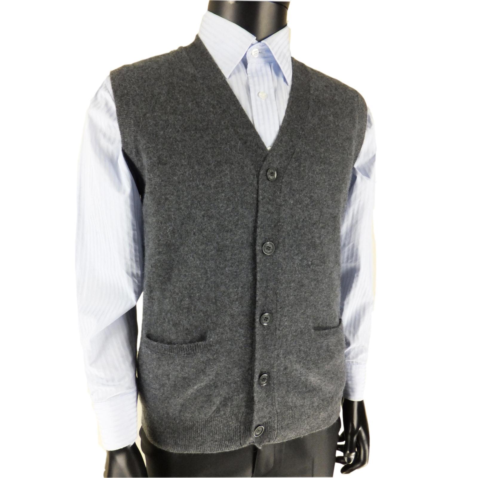 Tinh khiết cashmere vest nam mùa thu và mùa đông thanh niên kinh doanh len vest nam V-Cổ trung niên vest áo len đan cardigan