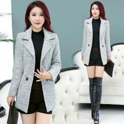8016韩版冬季小香风毛呢外套女短款加厚修身显瘦妮子学生呢子大衣