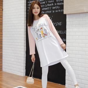 850#2017秋装新品韩版大码女装宽松中长款上衣卡通长袖T恤裙