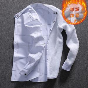 加绒衬衫男士长袖冬季寸衫休闲修身韩版2017新款秋季保暖衬衣123