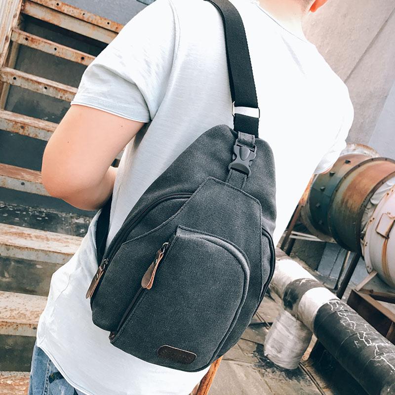 男士胸包男斜挎包帆布时尚休闲运动单肩包斜跨男包韩版潮流小背包
