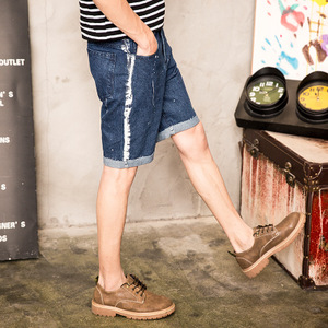包邮 牛仔短裤夏季薄款直筒五分裤男5分休闲马裤夏天破洞大码中裤